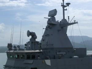 A close up of Kedah class bridge. Note the EADS 3-D radar and FCR