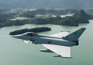 A RAF Typhoon flies over Penang Island in November, 2011. Pix by Geoff Lee/BAE Systems.