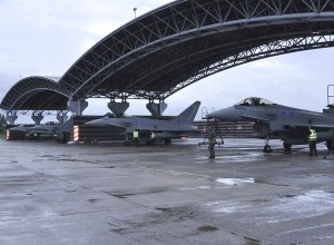 Two Typhoons powering up at Butterworth airbase in 2011.