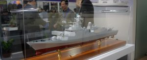 A model of the Algerian Navy C28A corvette displayed at DSA 2014.www.malaysiandefence.com