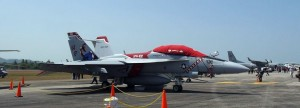 The other more colourful of the two US Navy Super Hornets at LIMA 2015.