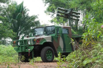 Another angle of the GK-M1 with the Thales Starstreak platform showing the three missile launchers.