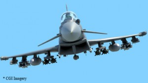 A CGI imagery of modular weapon launchers on the Typhoon.