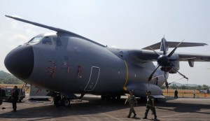 RMAF sole A400M M55-01 on display at LIMA 2015.