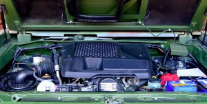 The engine bay of the GK-M1. It appears to be a Toyota diesel engine, probably similar to the one fitted on the Hilux.