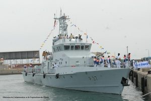 GNS Ehwor, one of the four Snake class patrol boats of the Ghana Navy. Ghana Information Ministry