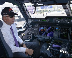 PM DS Najib Tun Razak sits in the captain seat of the first RMAF A400M shortly after he opened LIMA 2015