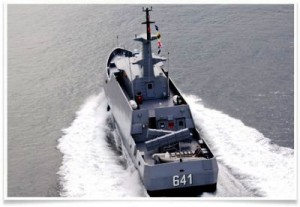 Another view of KRI Clurit, showing the arrangement of the stern.