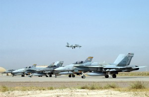 Two Kuwait AF F/A-18C seen here with a couple of F-16s. Internet.