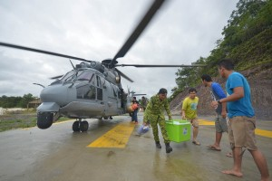 RMAF H225M conducting flood relief operations in late 2014.