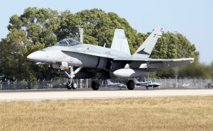 An F/A-18 Hornet aircraft based at RAAF Tindal during Exercise Aces North 2015, returns from a training mission. Australia MOD.