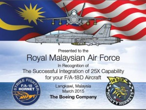 The plaque given to RMAF by Boeing for the successful integration of the 25X capability for its F/A-18D Hornet fleet,
