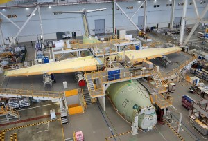 RMAF first Airbus A400M airlifter, MSN22 undergoing final assembly at Airbus final assembly in Seville, Spain. The aircraft is expected to be delivered in the first quarter of 2015. Airbus picture.
