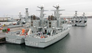 A stern view of two Diana class patrol boats of the RDN showing the large deck space aft.