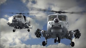 A CGI image of two AW159 Wildcat armed to the teeth