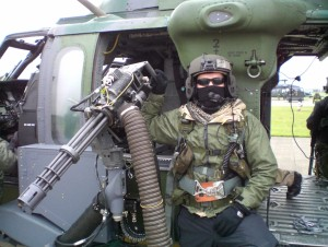 A mini-gun fitted to a Blackhawk helicopter