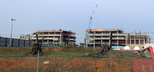 The five storey building under construction.