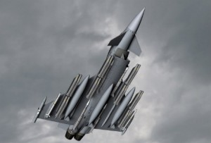 A CGI of a Typhoon carrying a load of Spear 3 bombs complete with air-to-air missiles and extra fuel tanks