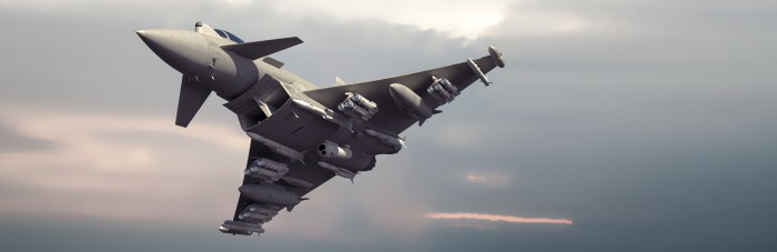 A CGI image of a Typhoon armed with a number of Brimstone missiles
