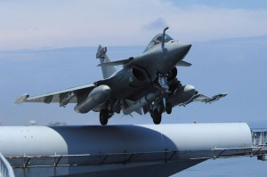 A French Navy Rafale taking off with the single Exocet missile.