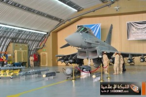 A RSAF Typhoon displayed with the ordnance it can carry.