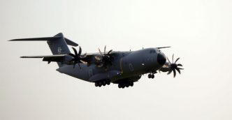 RMAF A400M M54-01 landing at Subang airport after performing a flypast on Merdeka Day