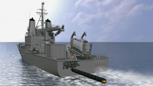 The CGI image of the stern launching of the Seahake Mod 4 ER torpedo from a purpose built vessel. Atlas Elektronik.
