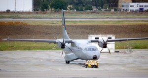 An Airbus C295 medium transport aircraft undergoing tests at Airbus DS facility at Seville, Spain.