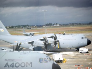 A Turkish A400M Atlas undergoing tests prior to a test flight at the Airbus DS facility in Seville, Spain.