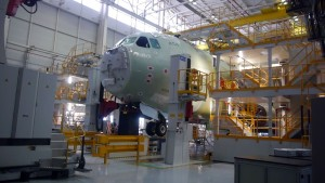 A cockpit part of an Atlas being mated to a fuselage at the Airbus DS A400M final assembly facility.