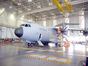 A Luftwaffe A400M Atlas undergoing checks prior to delivery in late 2015.