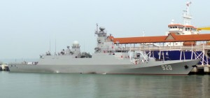 Algerian Navy Adhafer corvette at berth at BCC today. www.malaysiandefence.com