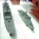 A model of the DSME corvette (right).