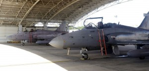 RMAF Hawk 208s tail number 36 and 34 in the dispersal shed at Labuan airbase.