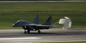 MIG-29NUB m43-02 lands at Butterworth AB during Cope Taufan 2014. USAF picture