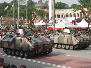 Two MIFVs on parade. Note the full cover on the turret.