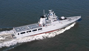 KD Darussalam, the first of the four OPVs built by Lurssen for the Royal Brunei Navy.