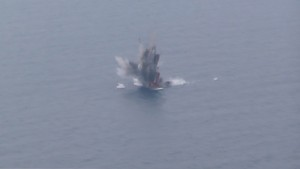 The KH-31A missile exploding upon impact on the target