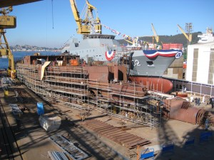 Chilean Navy OPV Comandante Policarpo Toro (82) waiting to be launched at the Asmar shipyard, Chile. Along side her is the third OPV under construction.