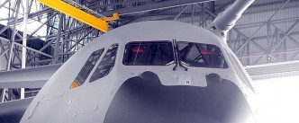 A close up of the A400M nose. Note the Thales EVS. Two more A400Ms will be delivered this year.