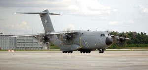 M54-01 taxing to the 22nd Squadron hangar after conducting a ride for the media organised by the Defence Minister.