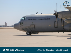 RMAF Hercules M30-11 from 20th Squadron landing at a Saudi airbase with the Malaysian contingent for North Thunder exercise. Diraalwatan.