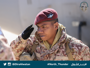 An Army PAC personnel in a very attractive desert digital camouflage saluting. Diraalwatan