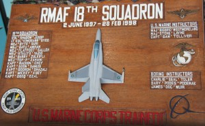 A plaque signifying the 18th Sqdn connection with the US Marines.