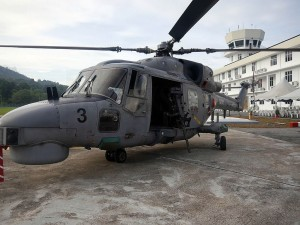 RMN Super Lynx helicopter fitted with 50 calibre HMG.