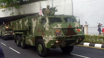 An Astros II MLRS launcher vehicle of the Rejimen 51 of the Kor Artileri Di Raja at the 2013 Merdeka Day parade.