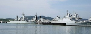 RMN ships berthed at the Lumut naval base in early 2014, KD Kasturi, KD Lekiu (hidden) and two Kedah class.