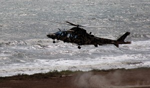 A digital camo AW109 of the PUTD landing at the firing range on Monday.