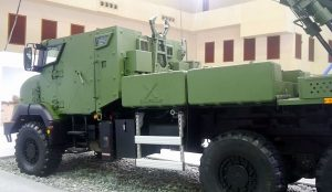 The up-armoured Sherpa 5 cab of the Nexter Systems Caesar 155m/52 SPH