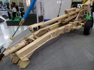 Nexter Systems 105mm LG howitzer. It is displayed in the sling-load configuration.
